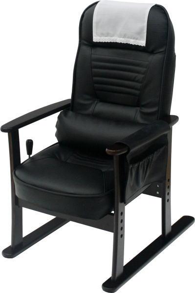 ヤマソロ肘付き高座椅子83-885ブラックレザー