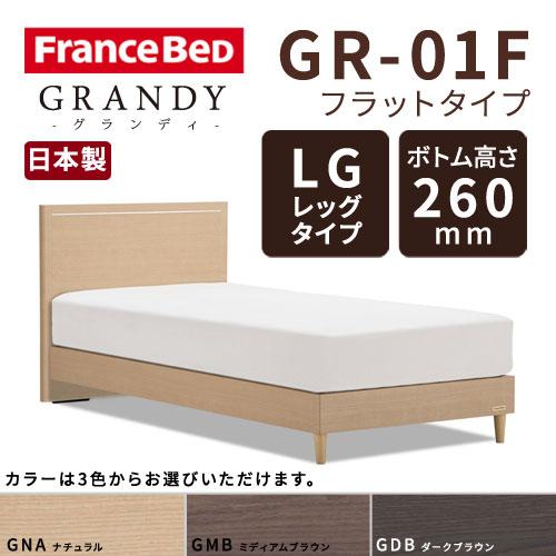 【フレームのみ】フランスベッド グランディ GR-01F LGタイプ(レッグタイプ) ボトム高さ26.0cm シングルサイズ(S)【都内・隣接県は開梱設置無料(日曜・祝日配送除く)】【代引き不可】