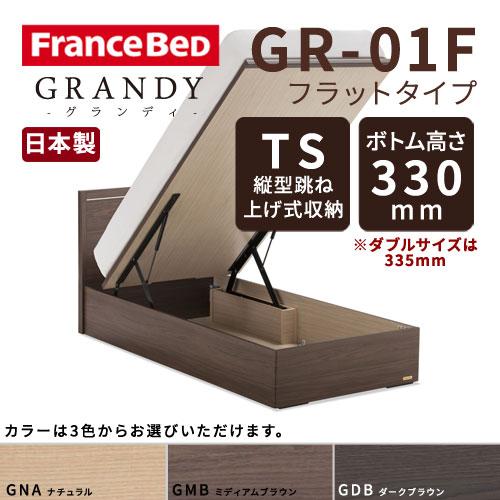 【フレームのみ】【開梱設置無料】フランスベッド グランディ GR-01F TSタイプ(縦型跳ね上げ式収納) ボトム高さ33.5cm ダブルサイズ(D)【代引き不可】