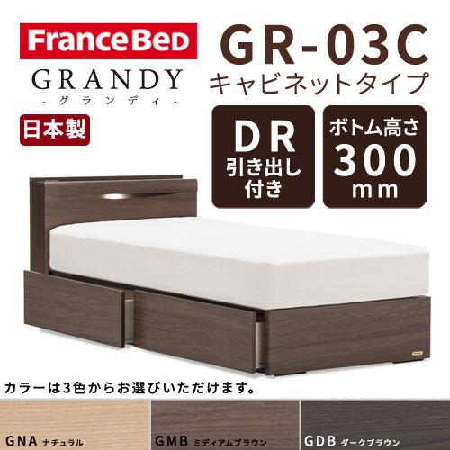 【フレームのみ】【開梱設置無料】フランスベッド グランディ GR-03C DRタイプ(引き出し付き) ボトム高さ30.0cm ダブルサイズ(D)【代引き不可】
