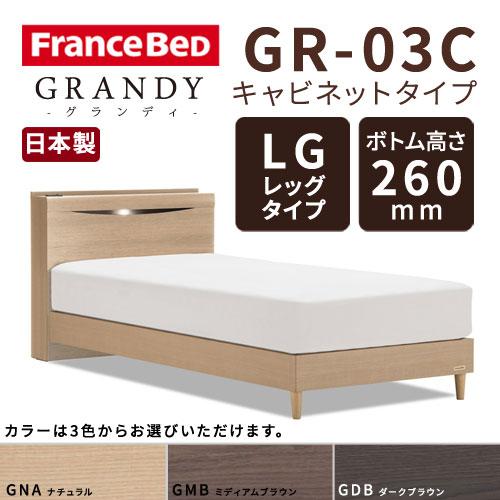 【フレームのみ】【開梱設置無料】フランスベッド グランディ GR-03C LGタイプ(レッグタイプ) ボトム高さ26.0cm シングルサイズ(S)【代引き不可】