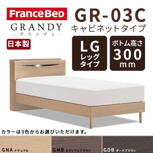 【フレームのみ】【開梱設置無料】フランスベッド グランディ GR-03C LGタイプ(レッグタイプ) ボトム高さ30.0cm セミダブルサイズ(M)【代引き不可】