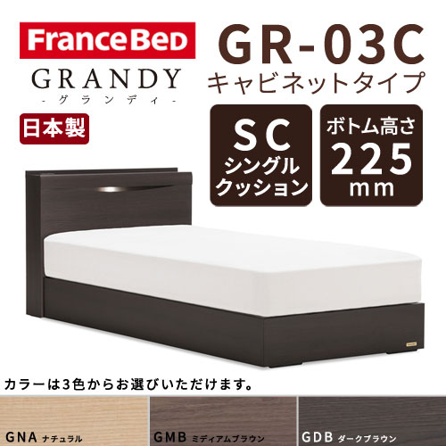 【フレームのみ】フランスベッド グランディ GR-03C SCタイプ ボトム高さ22.5cm シングルサイズ(S)【都内・隣接県は開梱設置無料(日曜・祝日配送除く)】【代引き不可】
