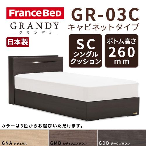 【フレームのみ】フランスベッド グランディ GR-03C SCタイプ ボトム高さ26.0cm シングルサイズ(S)【都内・隣接県は開梱設置無料(日曜・祝日配送除く)】【代引き不可】