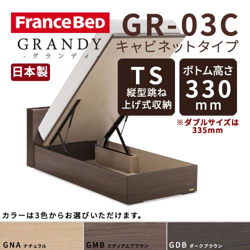 【フレームのみ】【開梱設置無料】フランスベッド グランディ GR-03C TSタイプ(縦型跳ね上げ式収納) ボトム高さ33.5cm ダブルサイズ(D)【代引き不可】