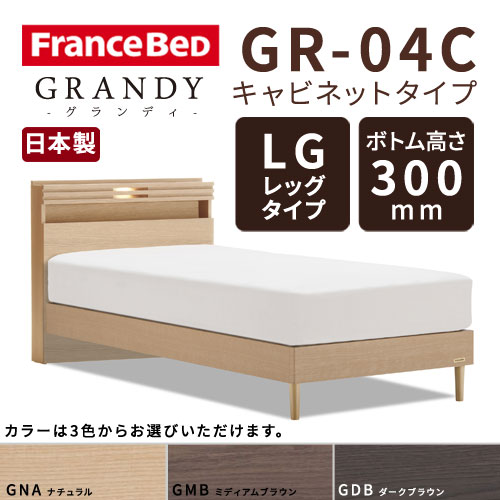 【フレームのみ】【開梱設置無料】フランスベッド グランディ GR-04C LGタイプ(レッグタイプ) ボトム高さ30.0cm セミダブルサイズ(M)【代引き不可】